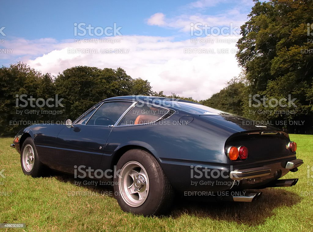 Ferrari 365GTB/4 Daytona classic GT sports car rear view stock photo