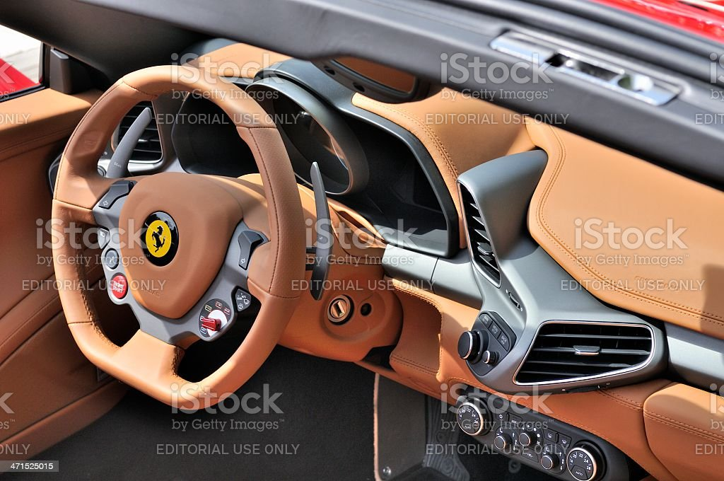 Ferrari 458 Spider interior stock photo