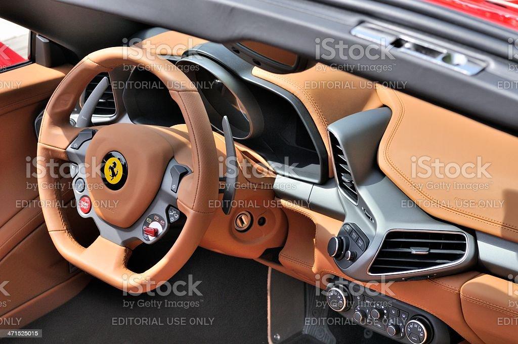 Ferrari 458 Spider interior stock photo