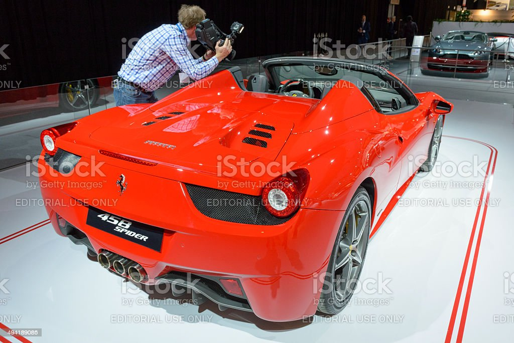 Ferrari 458 Spider Italian sports car stock photo