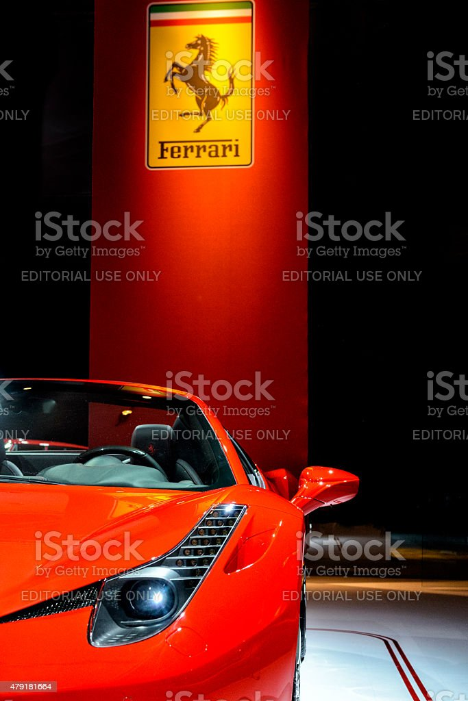 Ferrari 458 Spider with the Ferrari logo stock photo