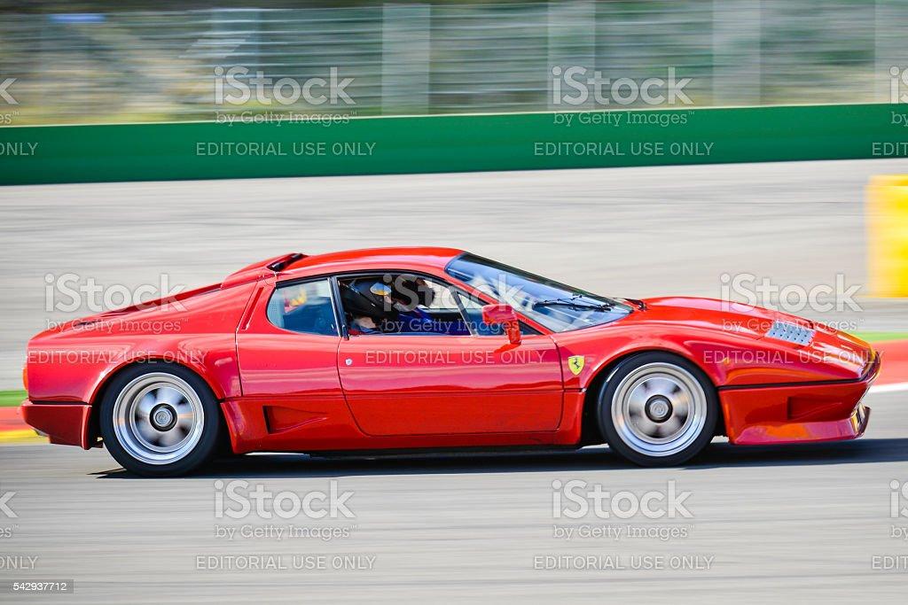 Ferrari 512 BB classic sports car driving fast stock photo