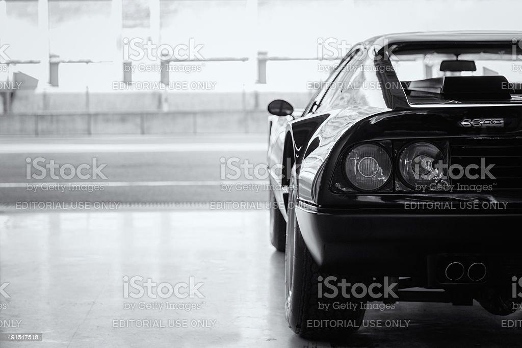 Ferrari 512 BB in the pit box stock photo