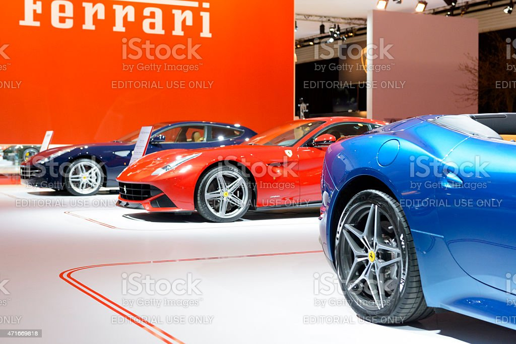 Ferrari California F12Berlinetta and FF at the motor show stand stock photo