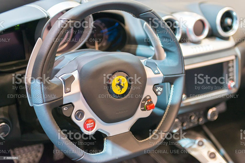 Ferrari California steering wheel stock photo
