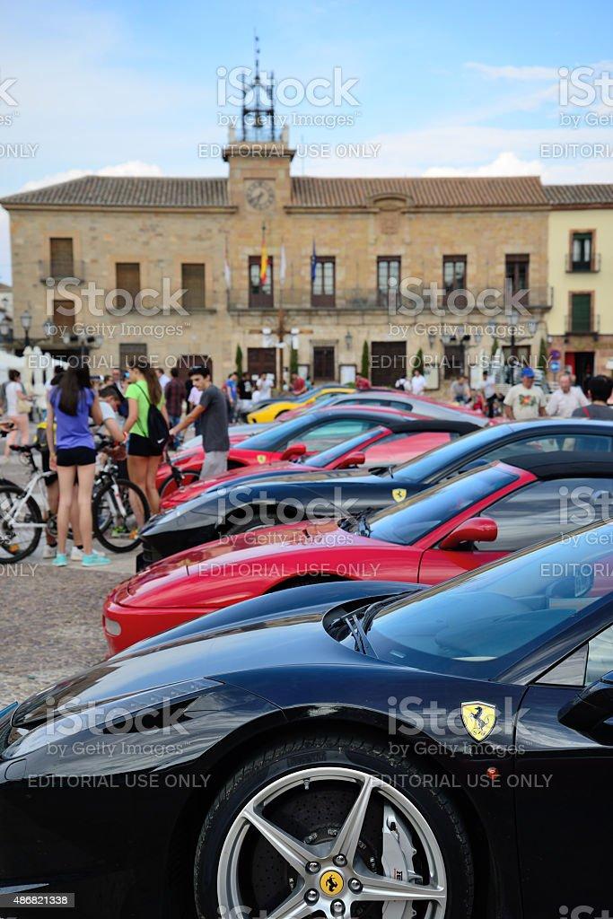 Ferrari concentration in Almagro, Spain. stock photo