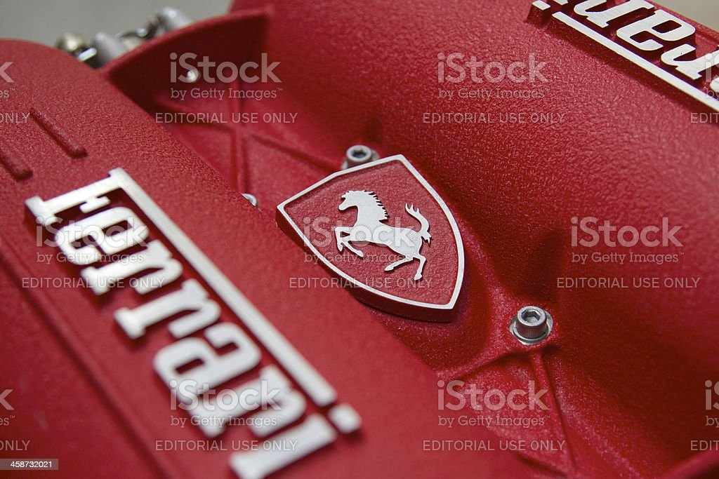 Ferrari Engine block stock photo