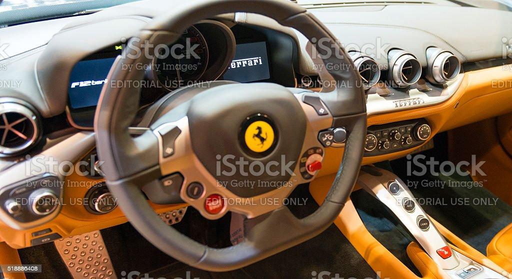 Ferrari F12 Berlinetta V12 GT sports car dashboard stock photo