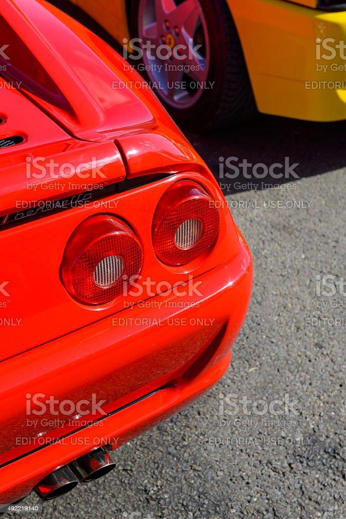 Ferrari F355 Berlinetta sports car detail stock photo