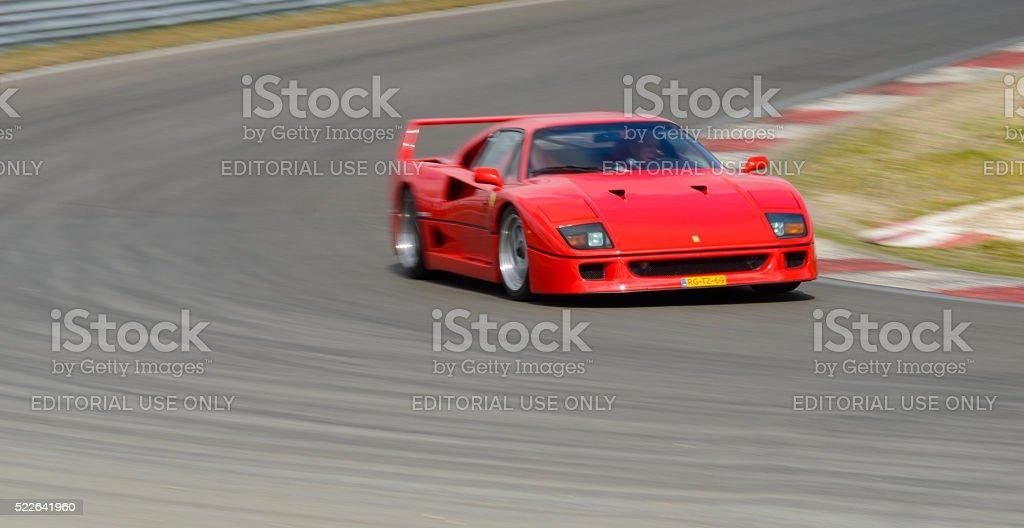 Ferrari F40 classic 1980s Italian supercar driving on track stock photo