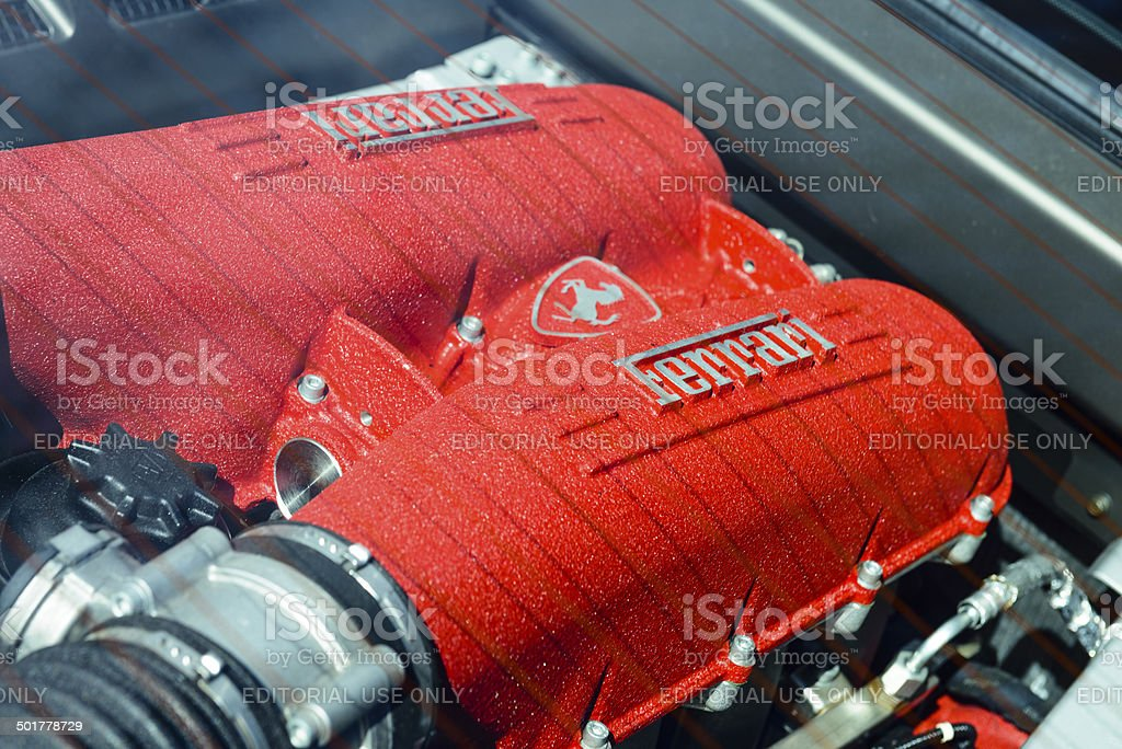Ferrari F430 engine stock photo