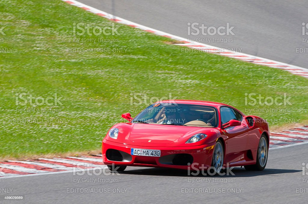Ferrari F430 on track stock photo