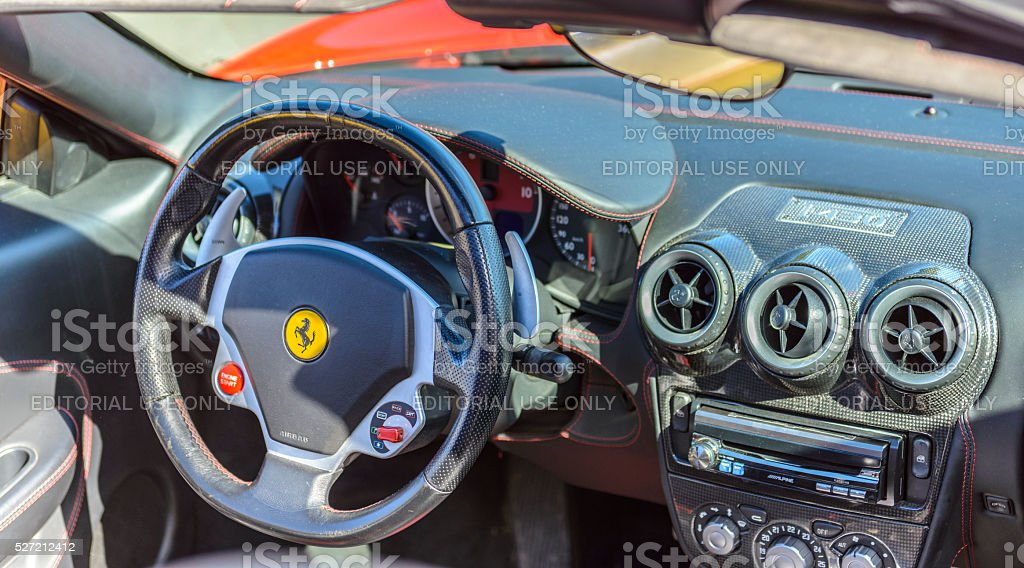 Ferrari F430 sports car interior stock photo