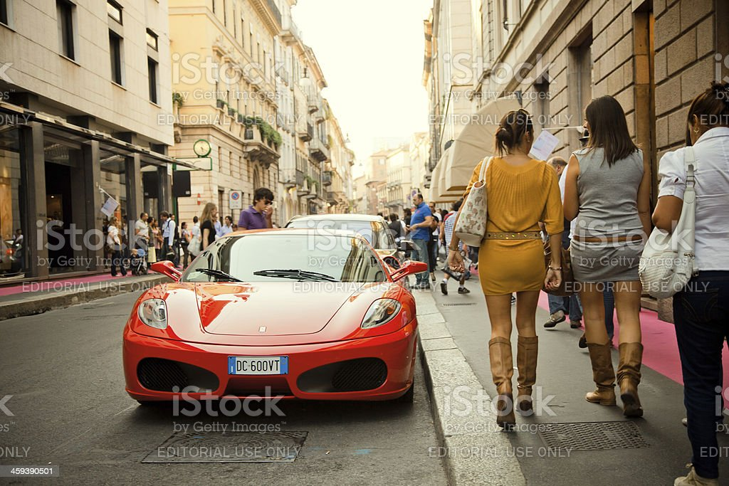 Ferrari in Milan, Italy stock photo