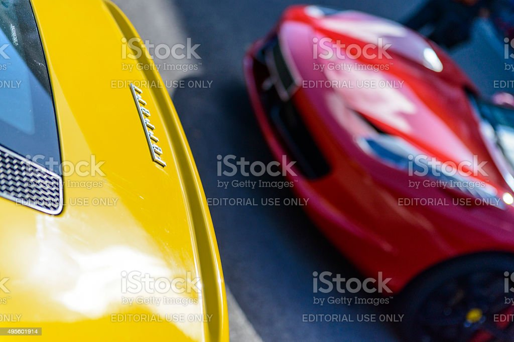 Ferrari in yellow and red stock photo