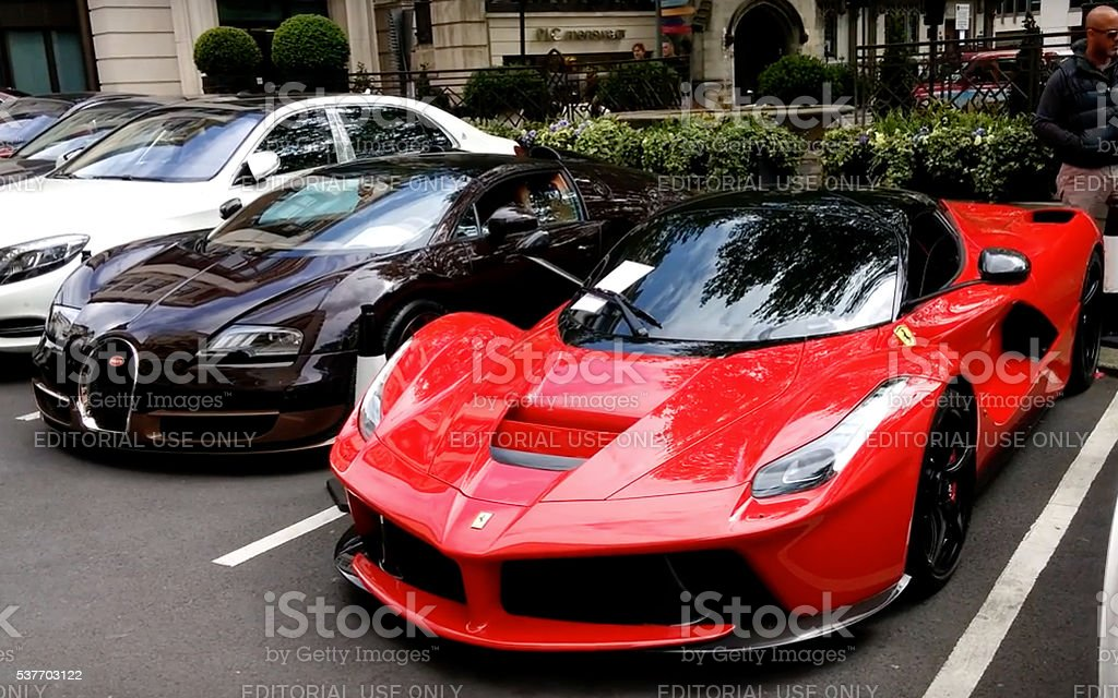 Ferrari La Ferrari project name, F150 seen in the street stock photo