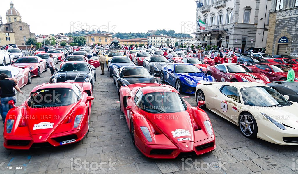 Ferrari rally in Florence - Cavalcade 2013 royalty-free stock photo