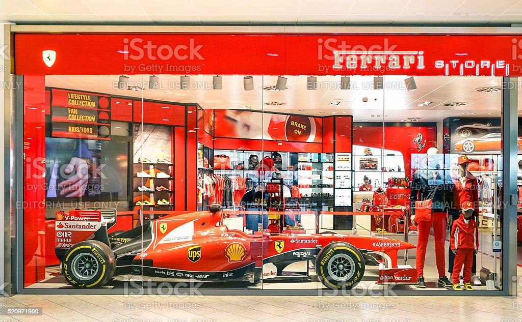 Ferrari Store at Guglielmo Marconi Airport stock photo