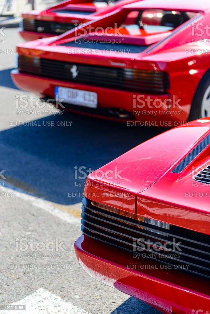 Ferrari Testarossa sports cars rear view stock photo