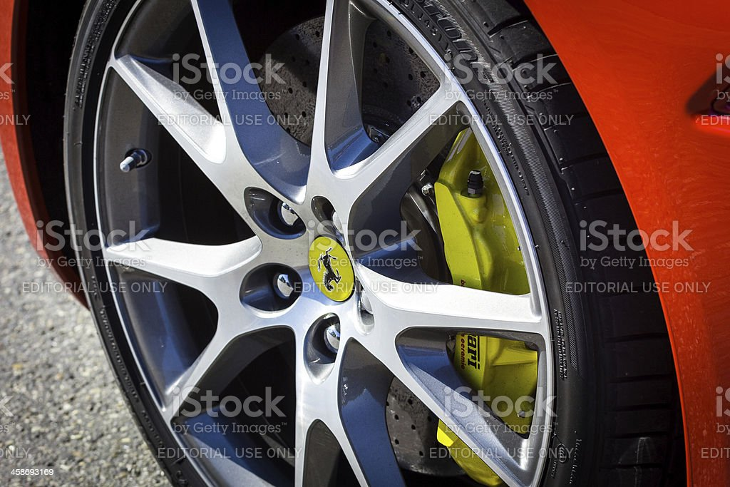 Ferrari Wheel and Bracking System stock photo