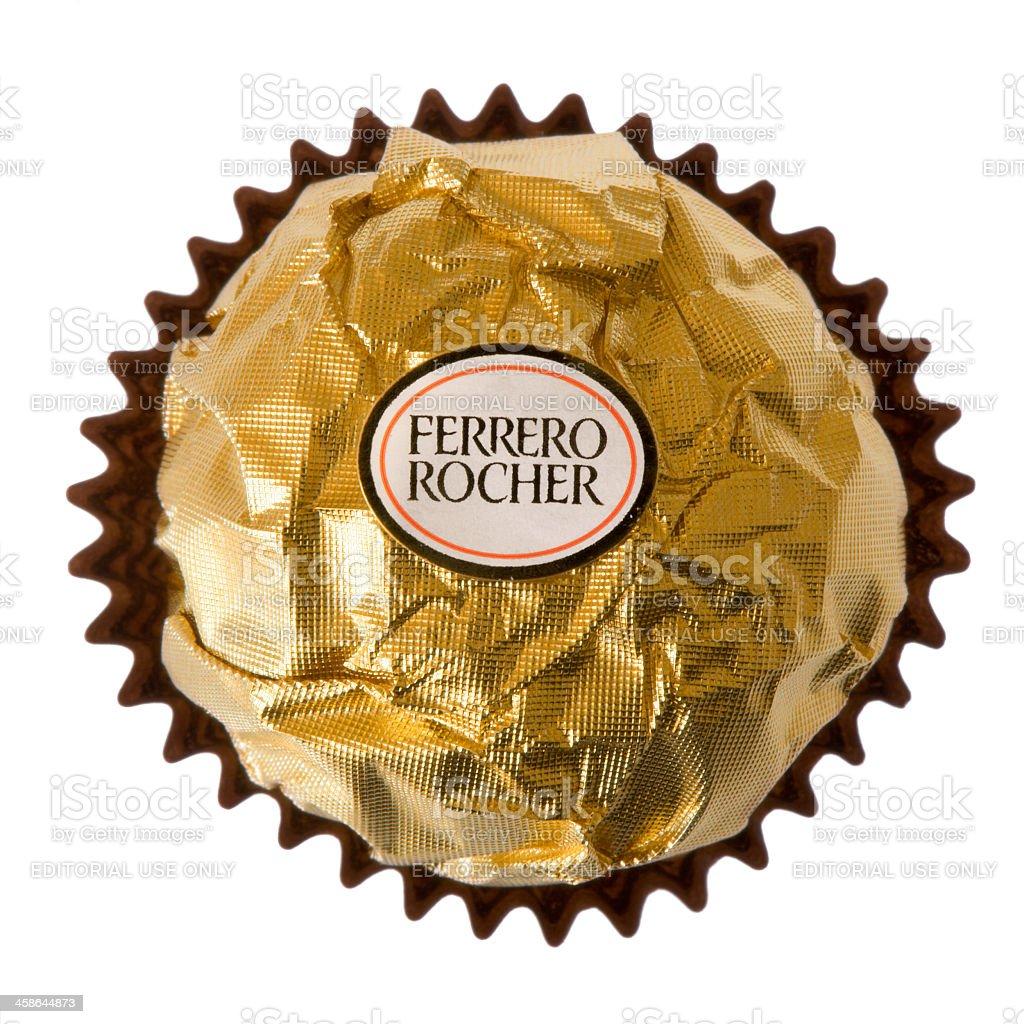 Ferrero Rocher Praline isolated on white Background stock photo