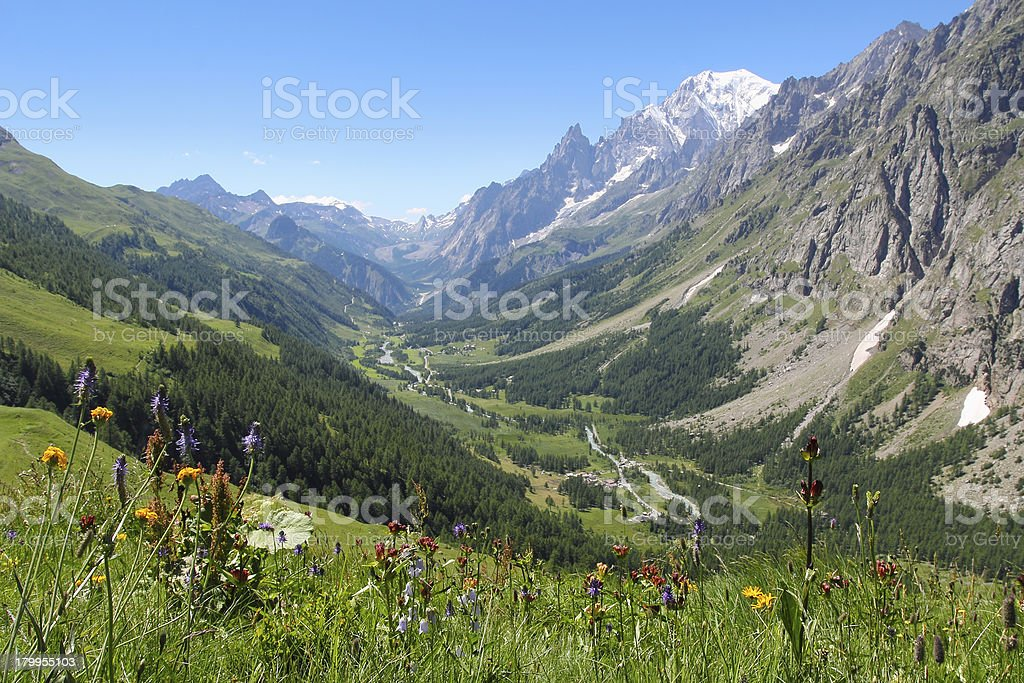 Ferret Valley and Mont Blanc panoramic view royalty-free stock photo