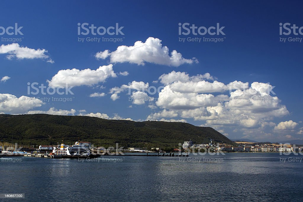 Ferries agains the Blue Sky royalty-free stock photo