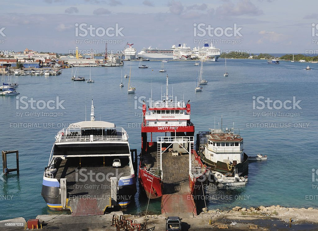 Ferries and Cruise Ships in Nassau royalty-free stock photo