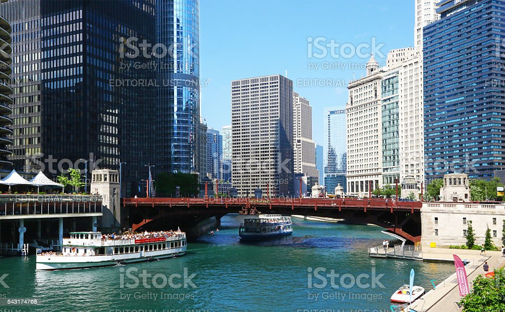 Ferries in Chicago river stock photo