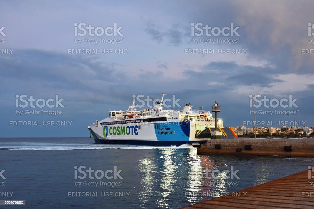 Ferries in Rafina harbor, Attica, Greece stock photo
