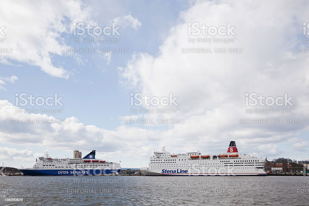 Ferries leaving the harbor. royalty-free stock photo
