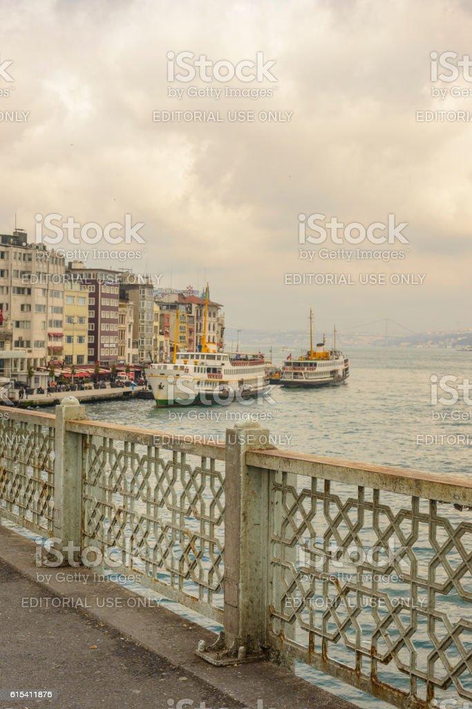 Ferries over the Bosphorus in Istanbul, Turkey. stock photo