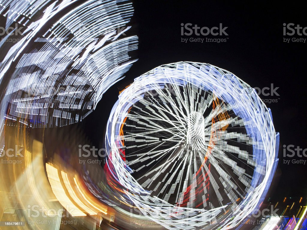 Ferris Wheel Abstract at Night royalty-free stock photo