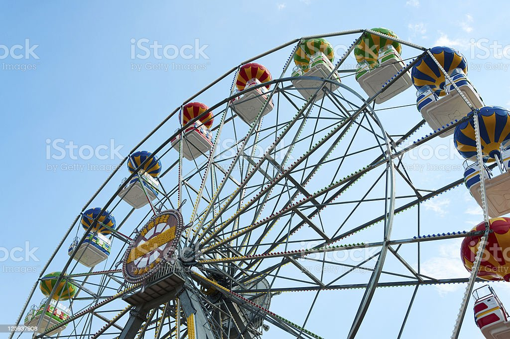 Ferris wheel against sky, view from below. royalty-free stock photo