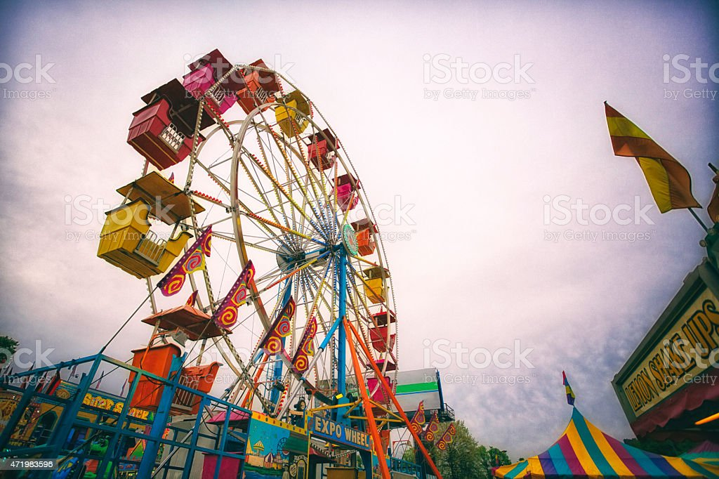 ferris wheel and carnival rides stock photo
