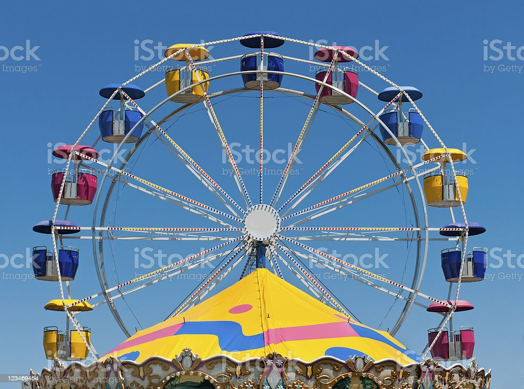 Ferris Wheel and Carousel Top stock photo