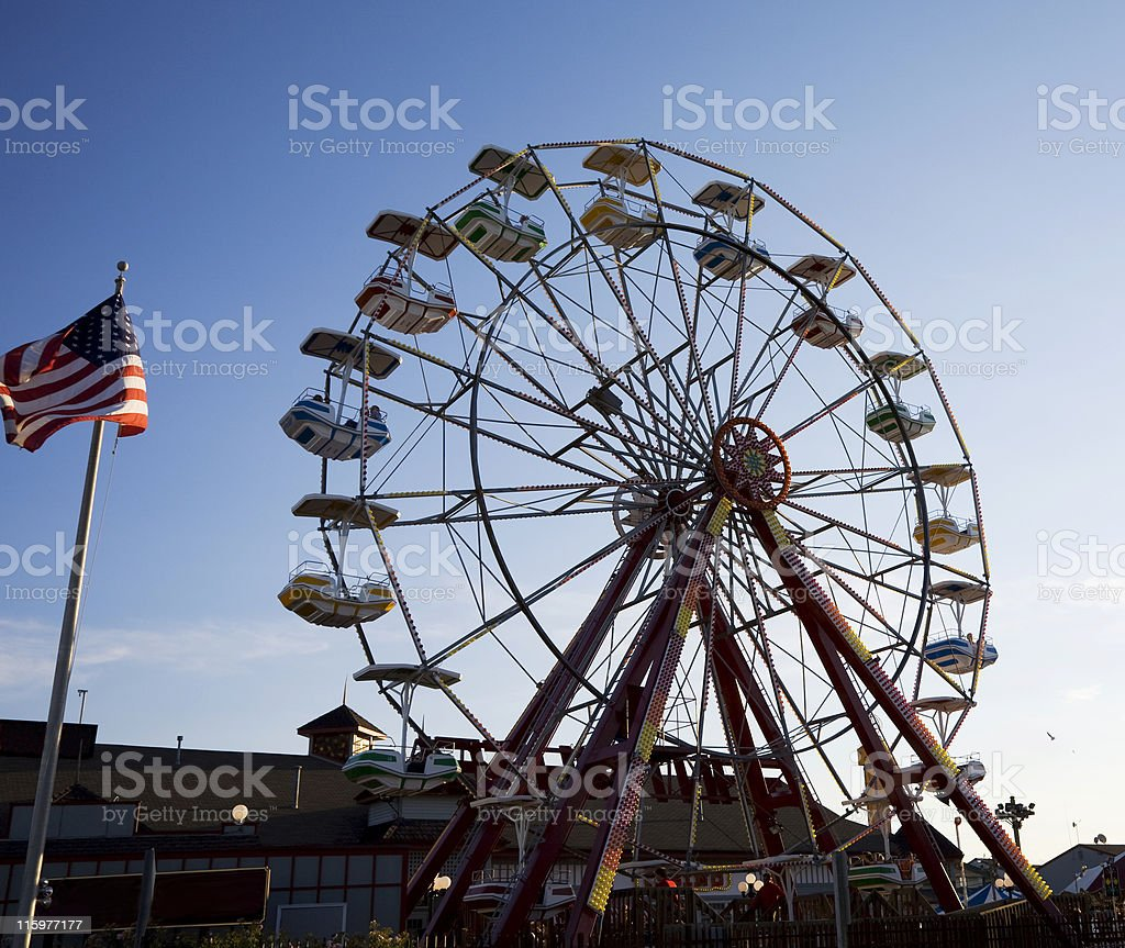 Ferris Wheel and Flag - 2 royalty-free stock photo