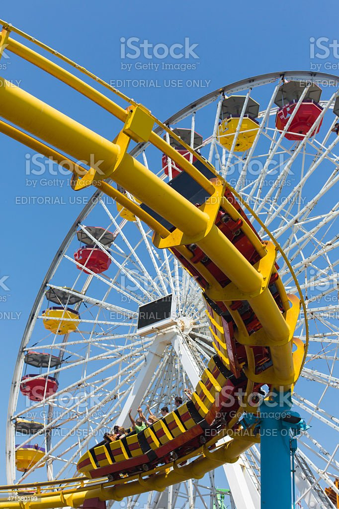 Ferris Wheel and Roller Coaster royalty-free stock photo