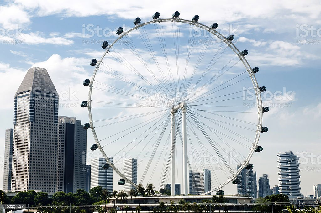 Ferris Wheel and skyline at Marina Bay, Singapore stock photo