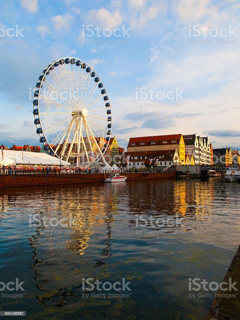 Ferris wheel at Motlawa River in Gdansk stock photo
