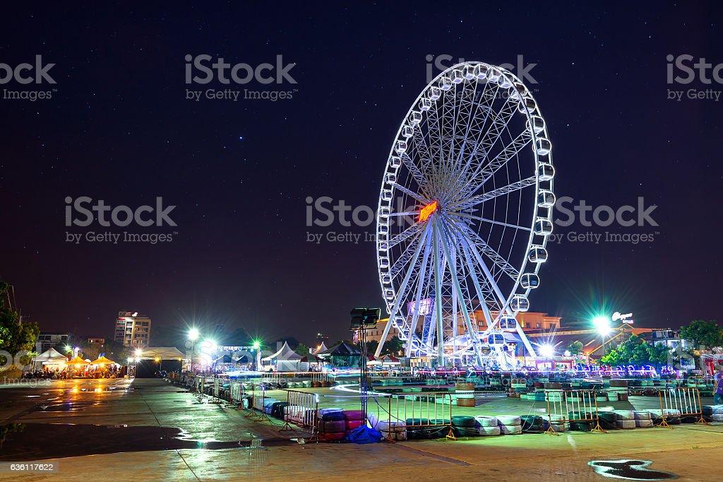 Ferris wheel at night.Asiatique in Bangkok. stock photo