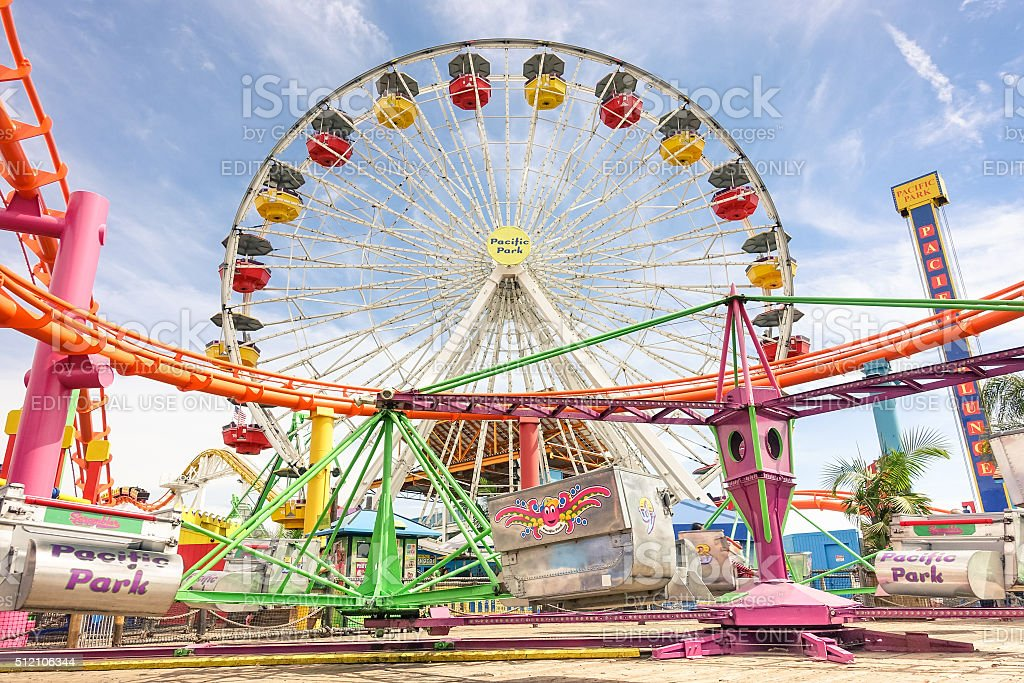 Ferris wheel at Santa Monica Pier at Pacific Amusement Park stock photo