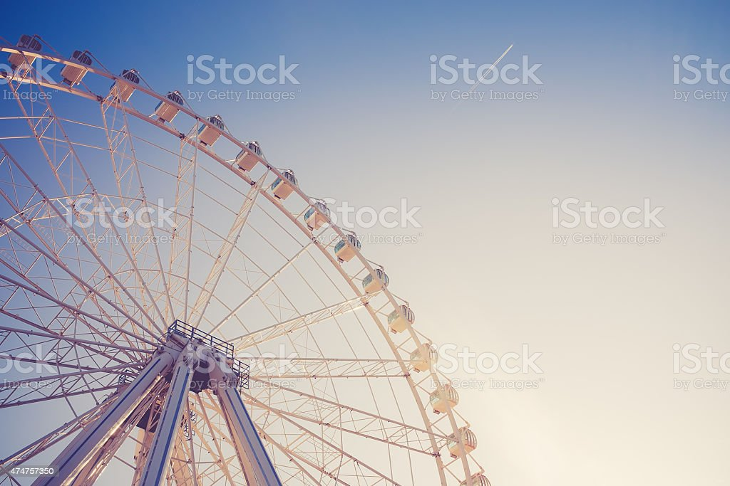 ferris wheel at sunset stock photo