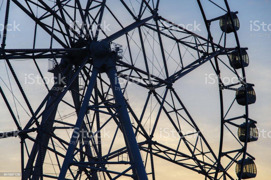 Ferris Wheel at the sunset stock photo