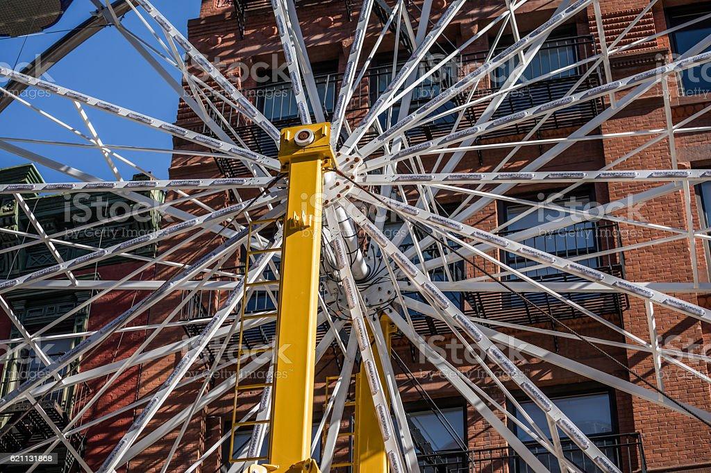 Ferris Wheel hub, Little Italy, New York City, USA stock photo