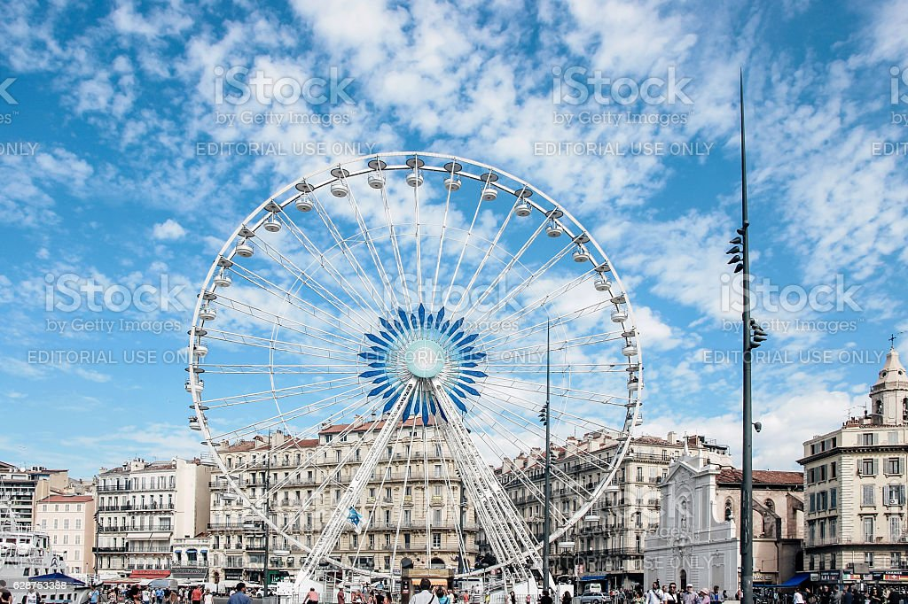 ferris wheel in blue sky in Marseille stock photo