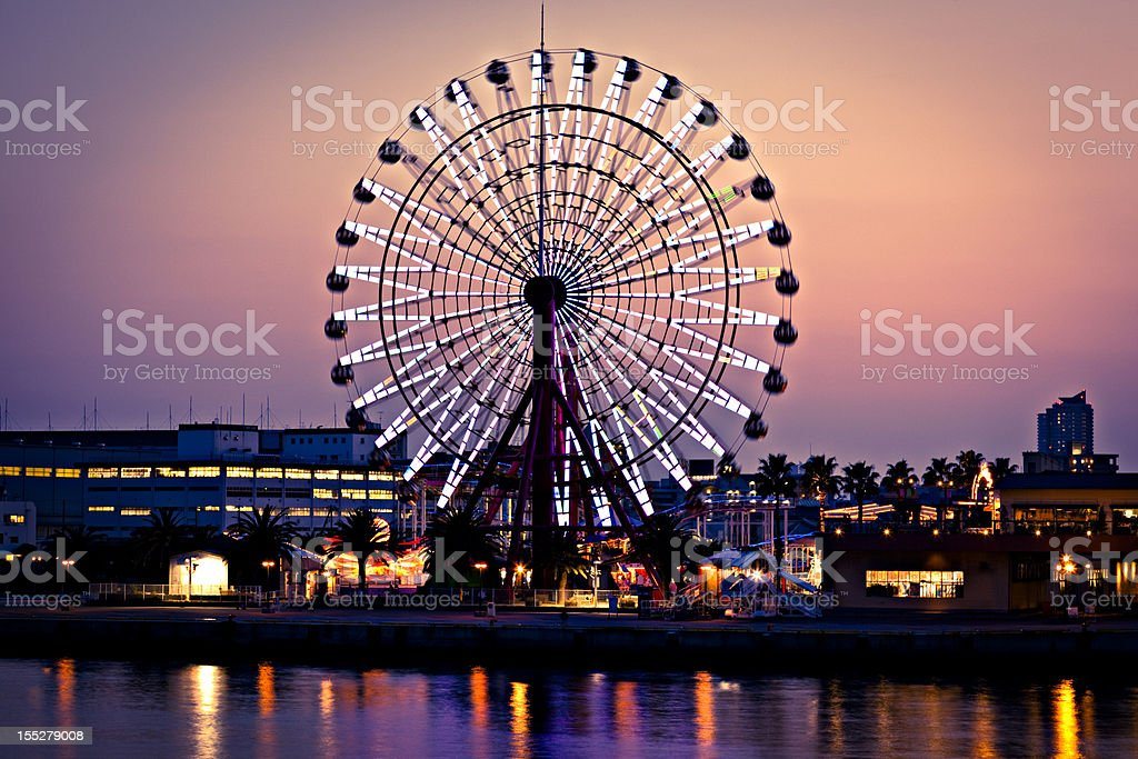 ferris wheel in kobe, japan stock photo