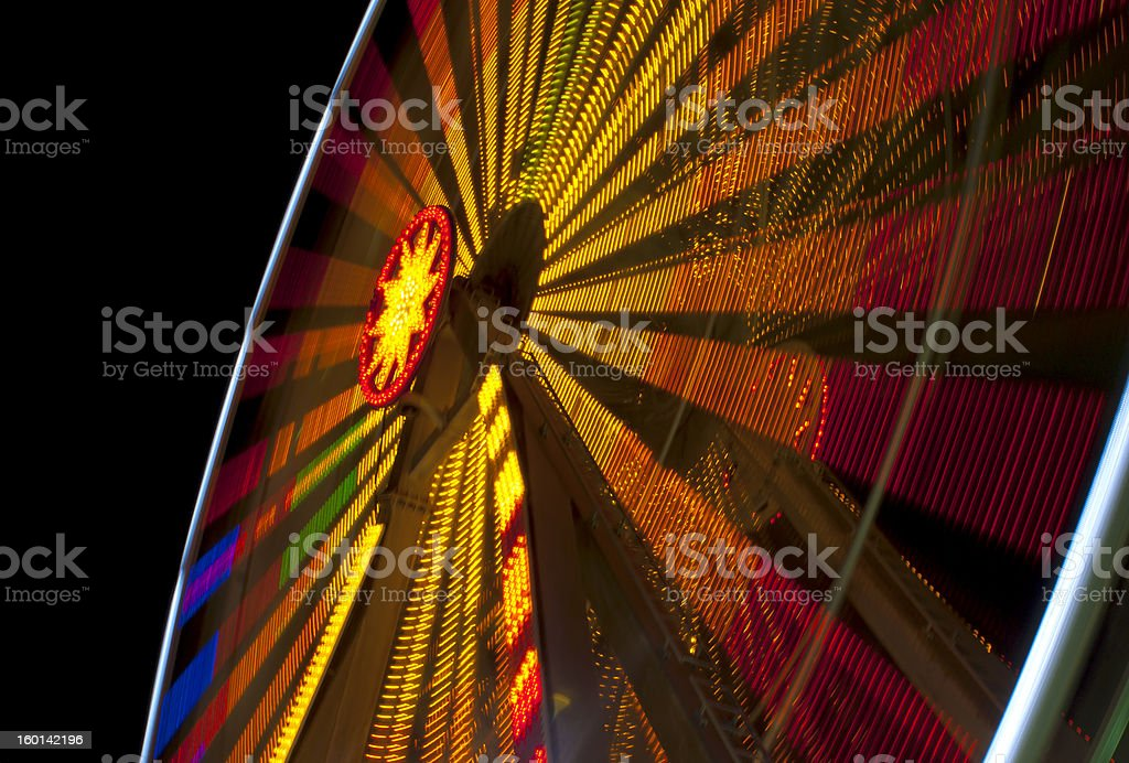Ferris Wheel in Motion at Night royalty-free stock photo
