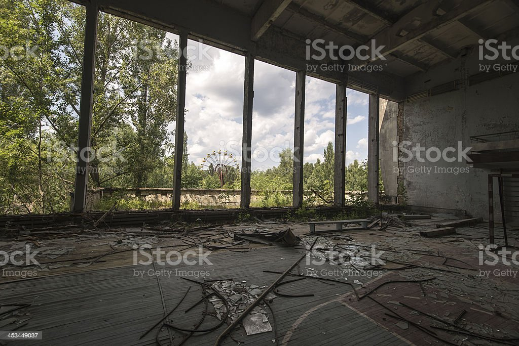 Ferris wheel in the distance (Pripyat/Chernobyl) royalty-free stock photo