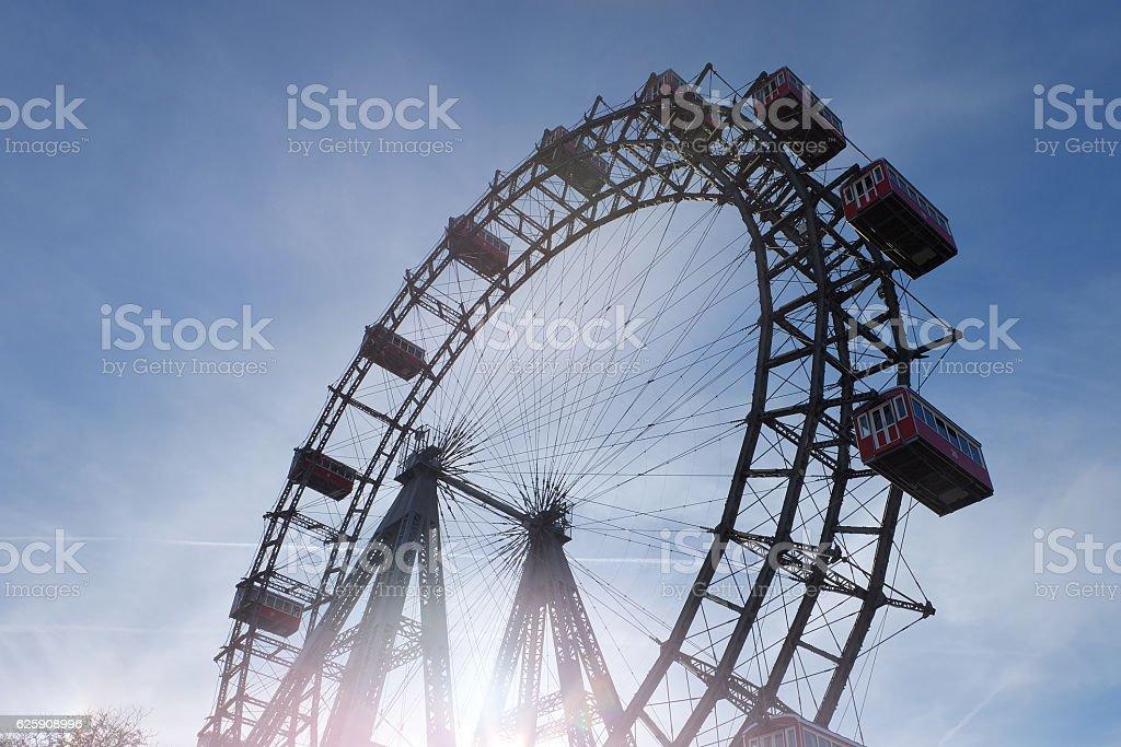 Ferris Wheel in Vienna; Riesenrad im Wiener Prater, Austria stock photo